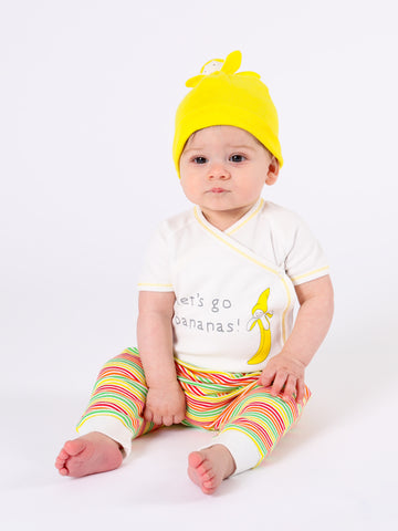 Side Snap Footie - Yellow Stripe w/ Banana Embroidery