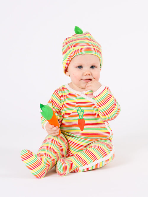 Side Snap Footie - Veggie Stripe w/ Carrot Embroidery