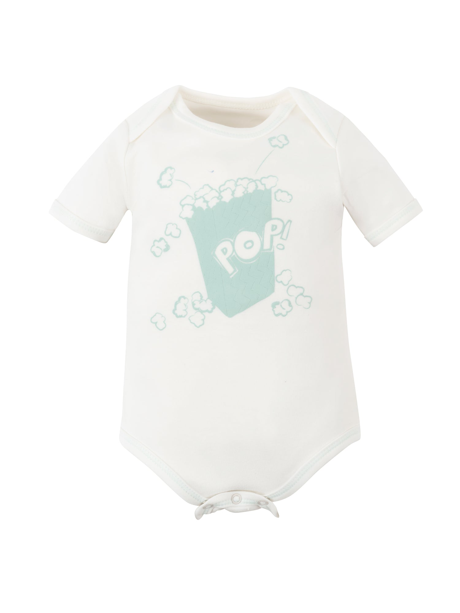 Short Sleeve Lap Shoulder Bodysuit - Popcorn Screen Print