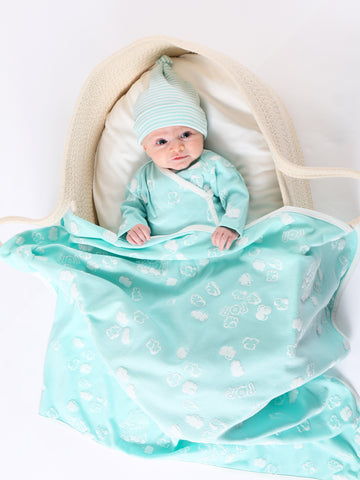 Deluxe Hooded Towel - Aqua Stripe