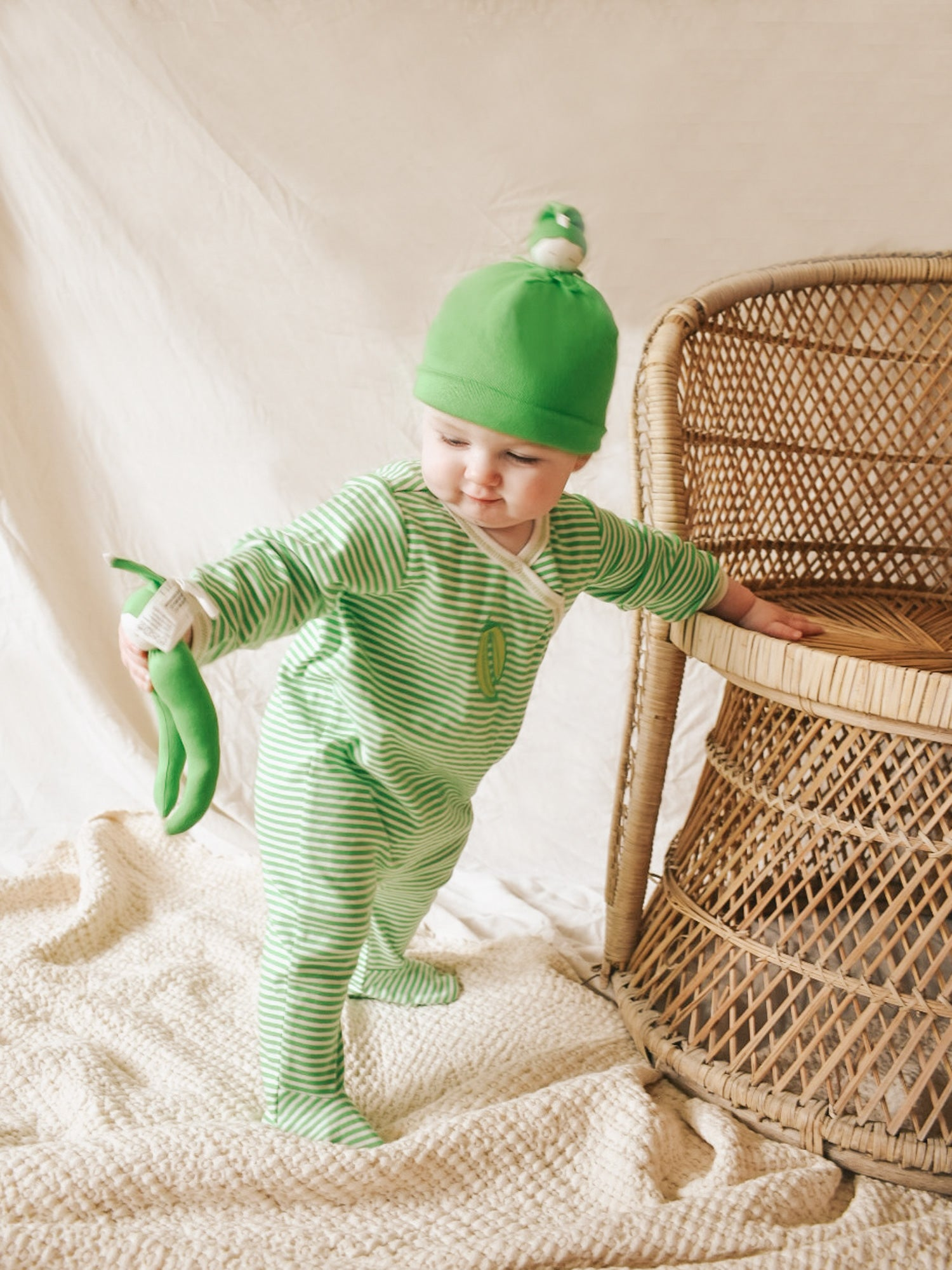 Green Bean Stripes Footie Gift Set