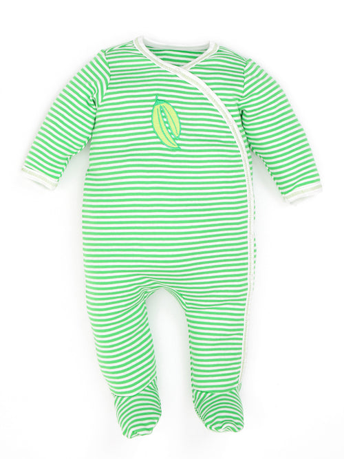 Side Snap Footie - Green Stripe w/ Bean Embroidery