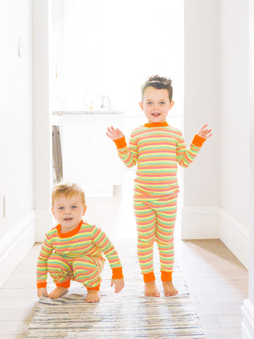 Baby Long Johns - Pink Creme Stripe
