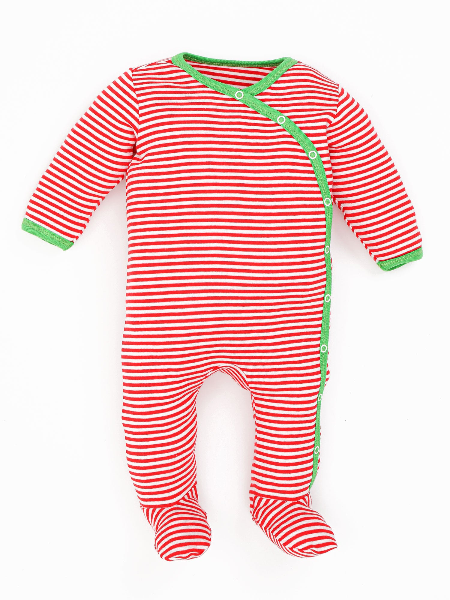 Side Snap Footie - Candy Cane Holiday Stripe