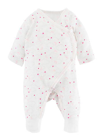 Side Snap Footie - Grey Stripe with Pink Bunny