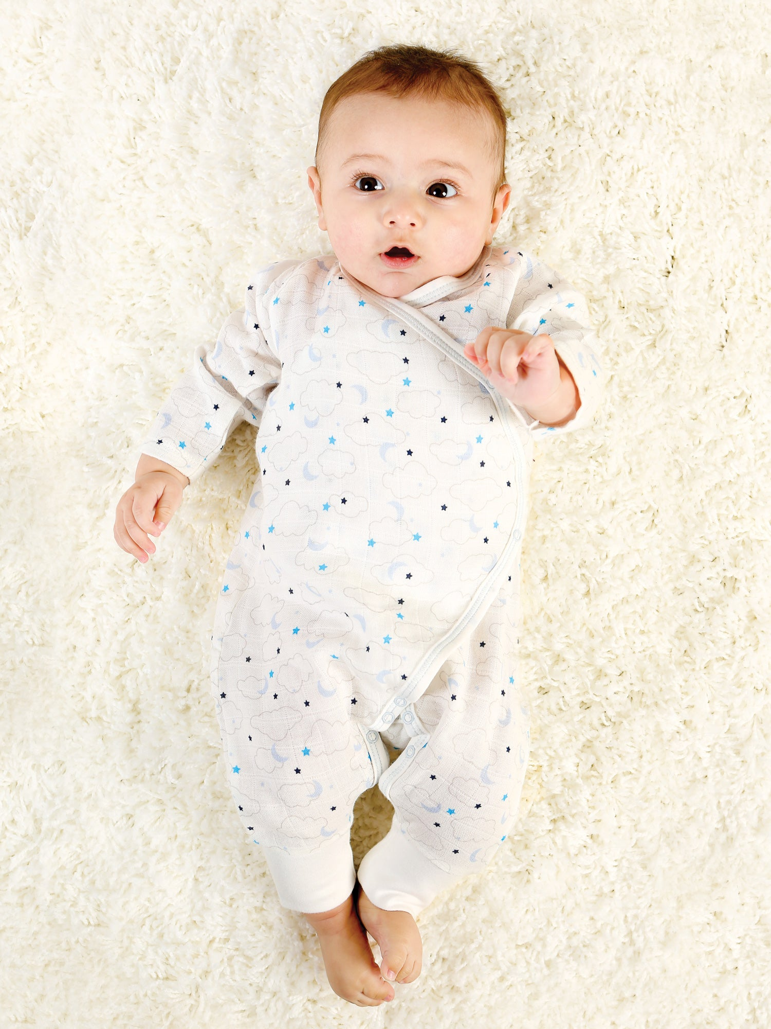 37f9d45bea11 Organic Baby Muslin Side Snap Kimono - Blue Starry Night – Under the ...