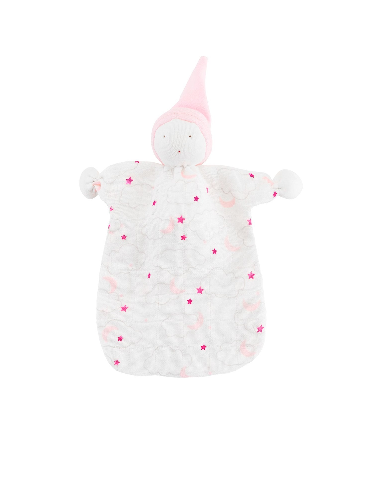 muslin-organic-cotton-baby-lovey-sleeping-doll-starry-print-pink