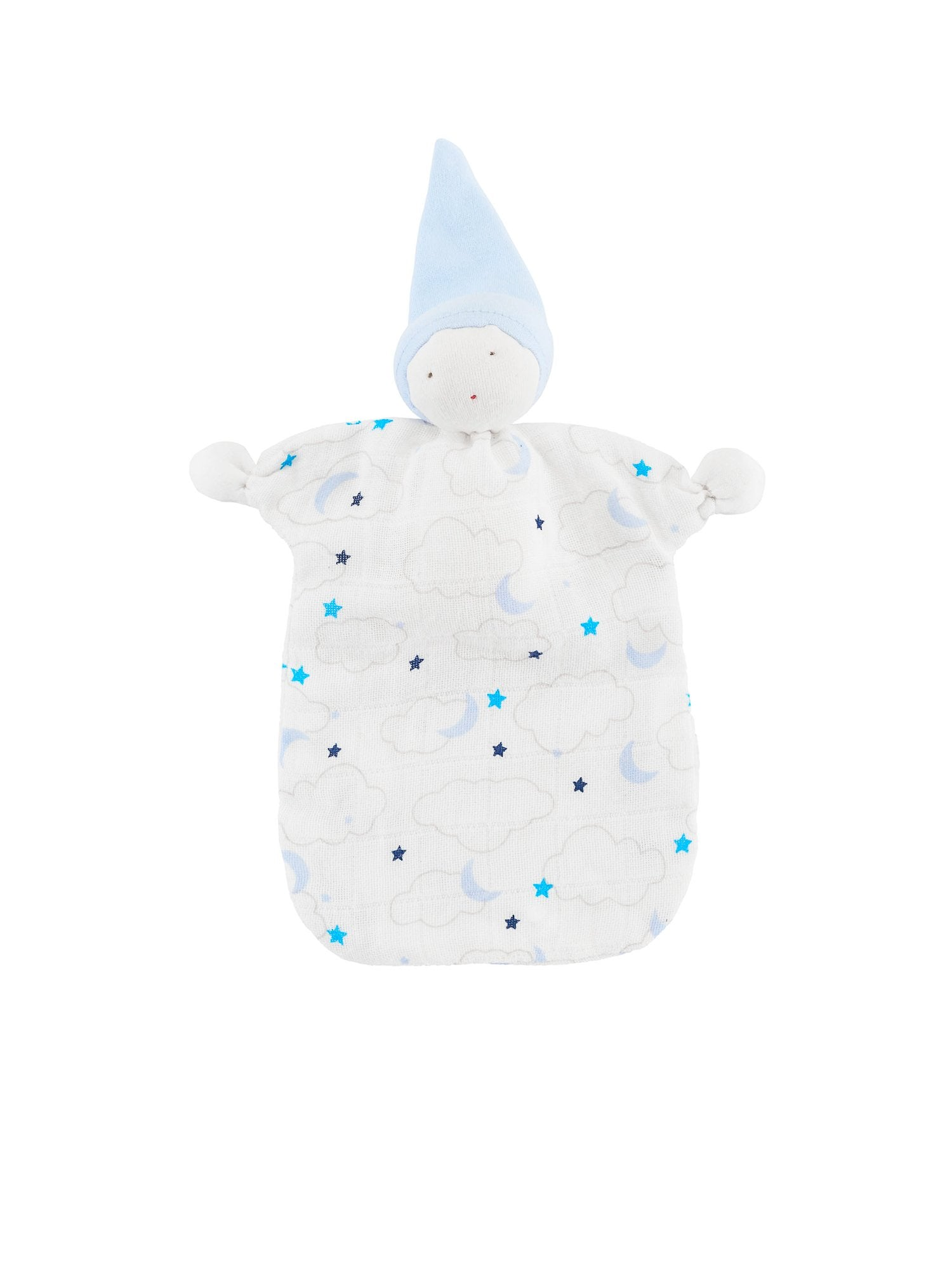 muslin-organic-cotton-baby-lovey-sleeping-doll-starry-print-blue