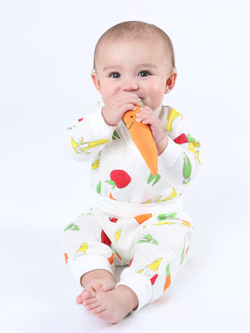 Short Sleeve Lap Shoulder Bodysuit - Veggie Bunch Print
