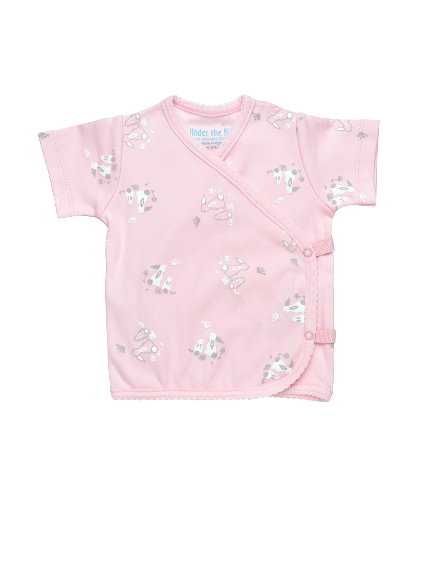 Short Sleeve Side Snap T-Shirt - Pink Bunny Print