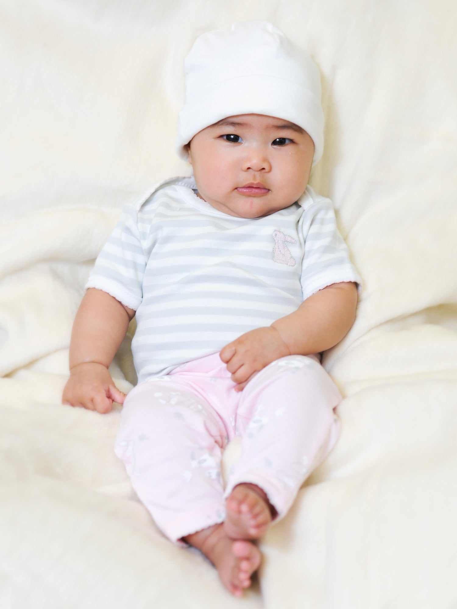 Short Sleeve Bodysuit - Grey Stripe with Pink Bunny