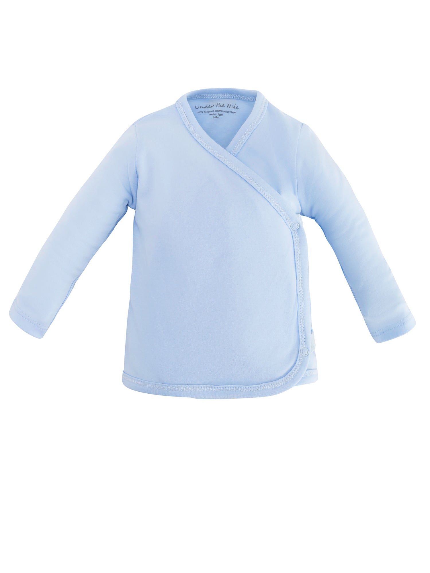 fdb142fafb Organic Cotton Blue Long Sleeve Side-Snap T-shirt for Baby – Under the Nile