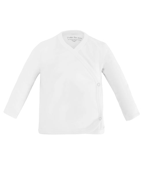 Long Sleeve Side Snap T-Shirt - Organic White