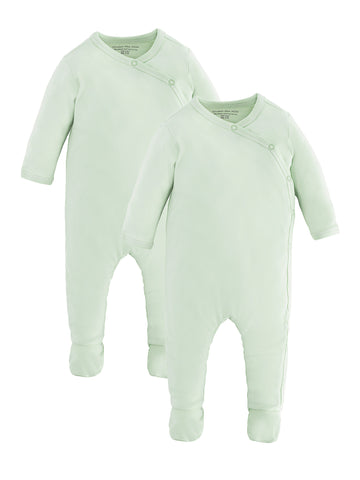 Long Sleeve Lap Shoulder Bodysuit - Sage Green Value Pack