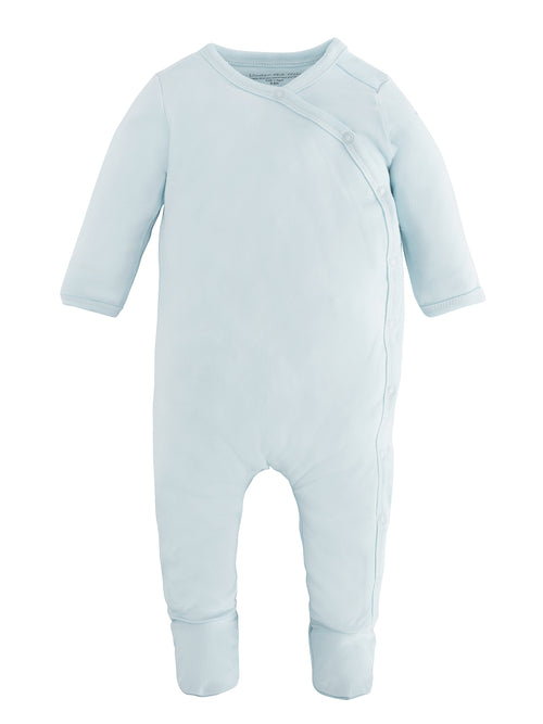 Side Snap Footie - L. Blue - Preemie / Newborn