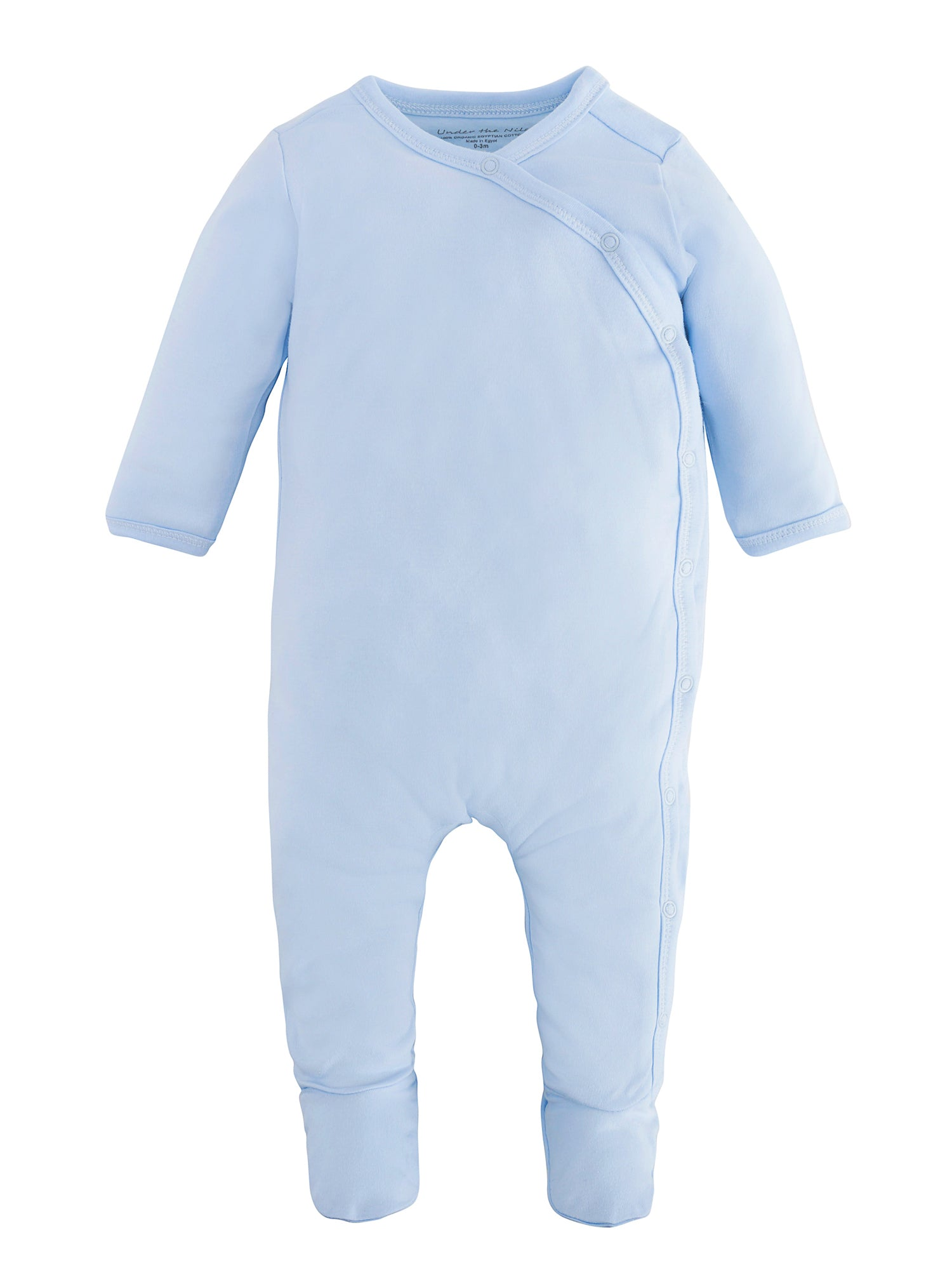 280bd8ee0 Organic Cotton Blue Side-Snap Footie Pajamas for Baby – Under the Nile