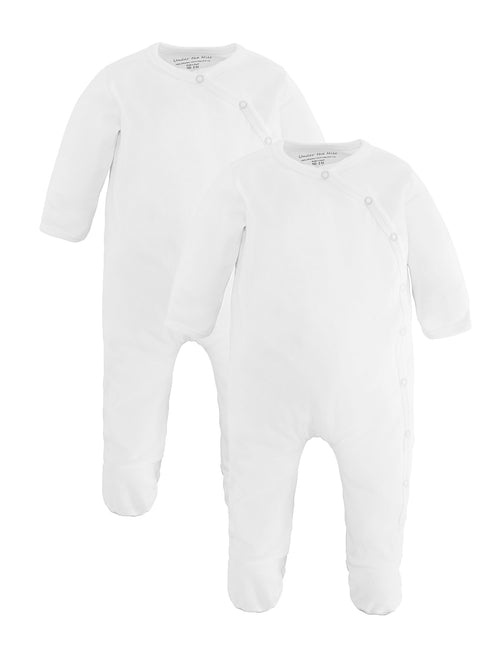 Side Snap Footie - Organic White Value Pack