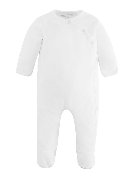 Side Snap Footie - Organic White