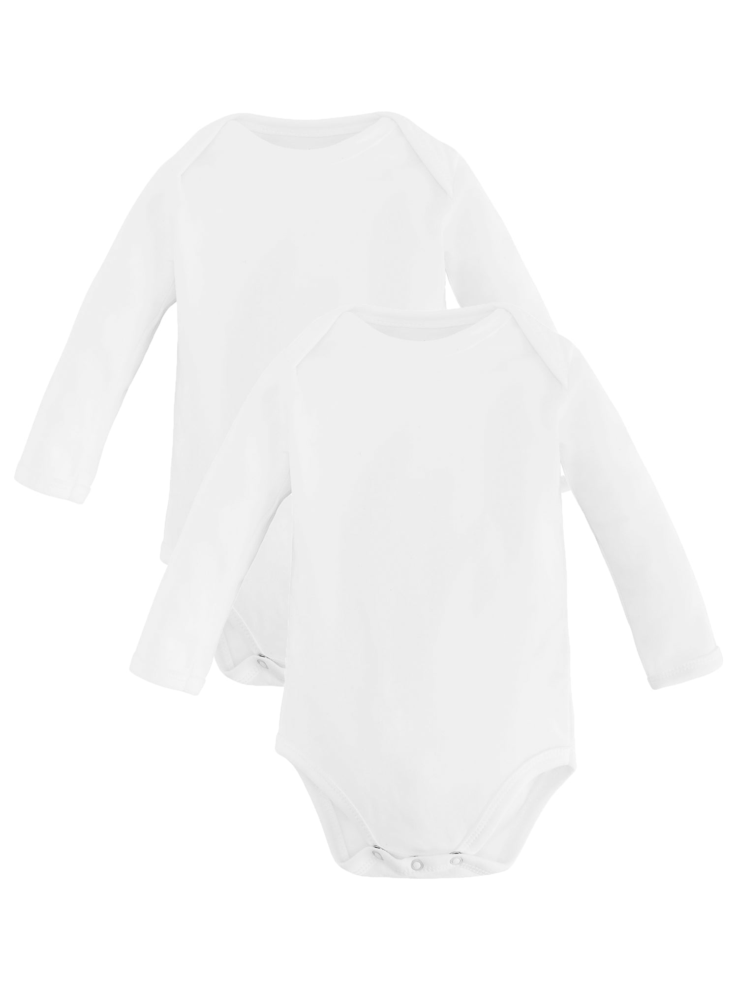 Long Sleeve Lap Shoulder Bodysuit - Organic White Value Pack