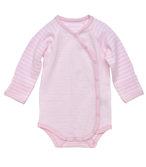 Long Sleeve Side Snap Bodysuit - Pale Pink Stripe