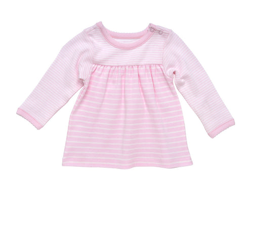 Snap Shoulder Top - Pale Pink Stripe