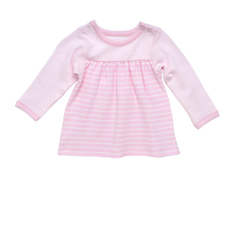 Short Sleeve Lap Shoulder T-Shirt - Pale Pink Stripe