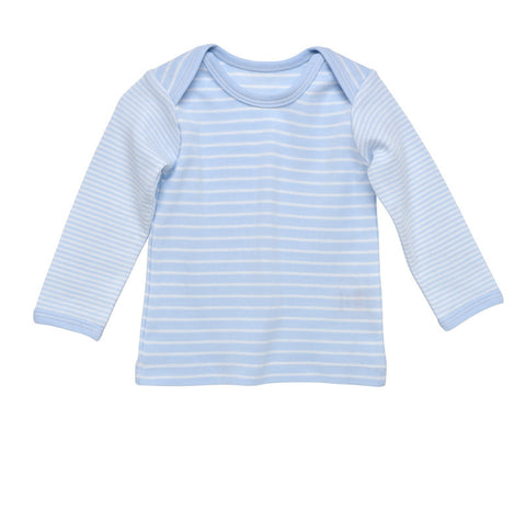 Snap Front Footie - Pale Blue Stripe
