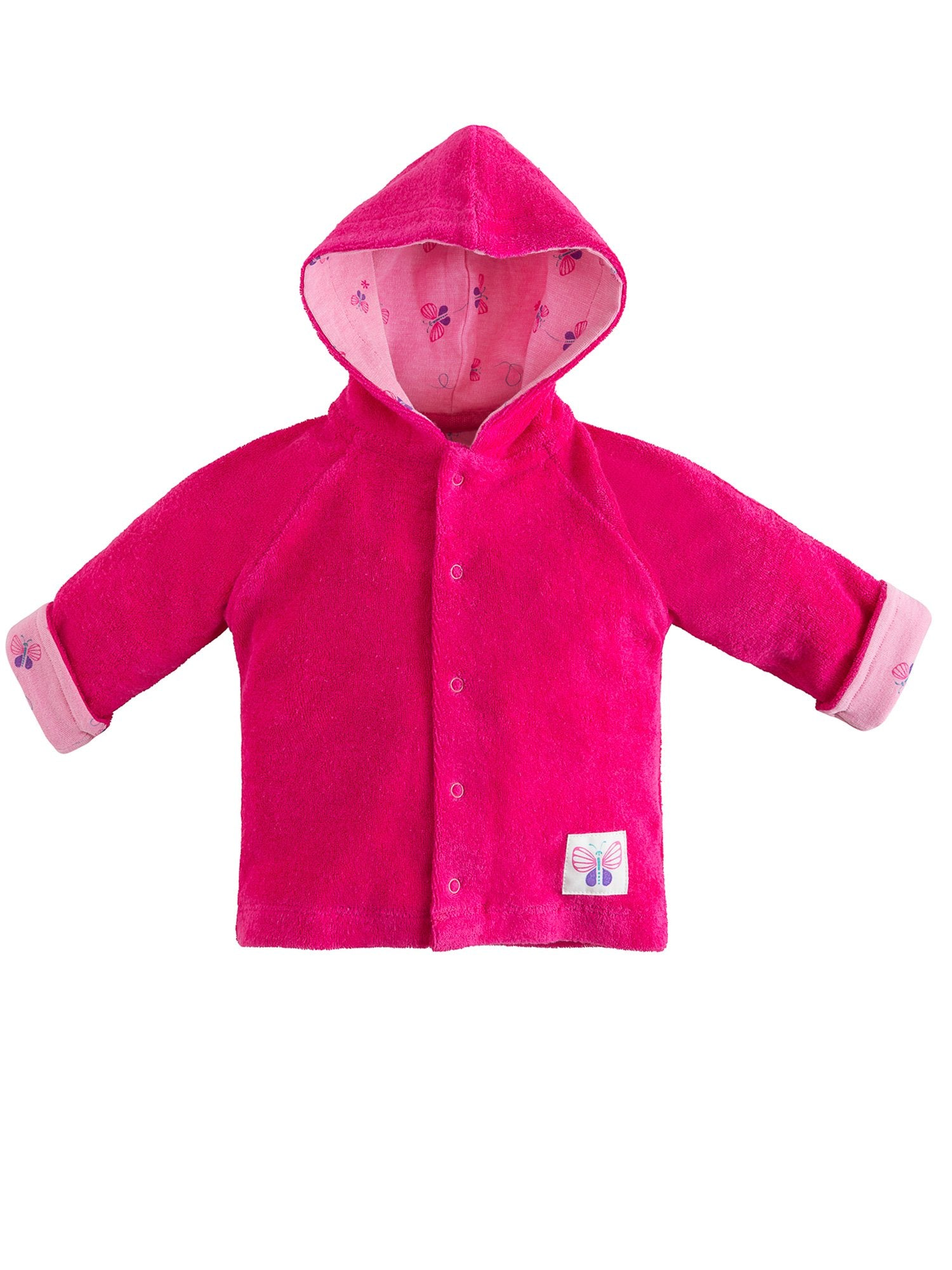 7e10764b5 Organic Cotton Baby Girl Snap Front Hoodie - Bella Butterfly – Under the  Nile
