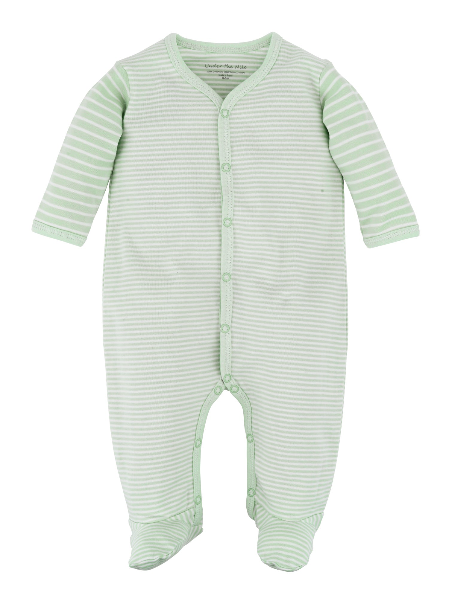 Snap Front Footie - Sage Stripe