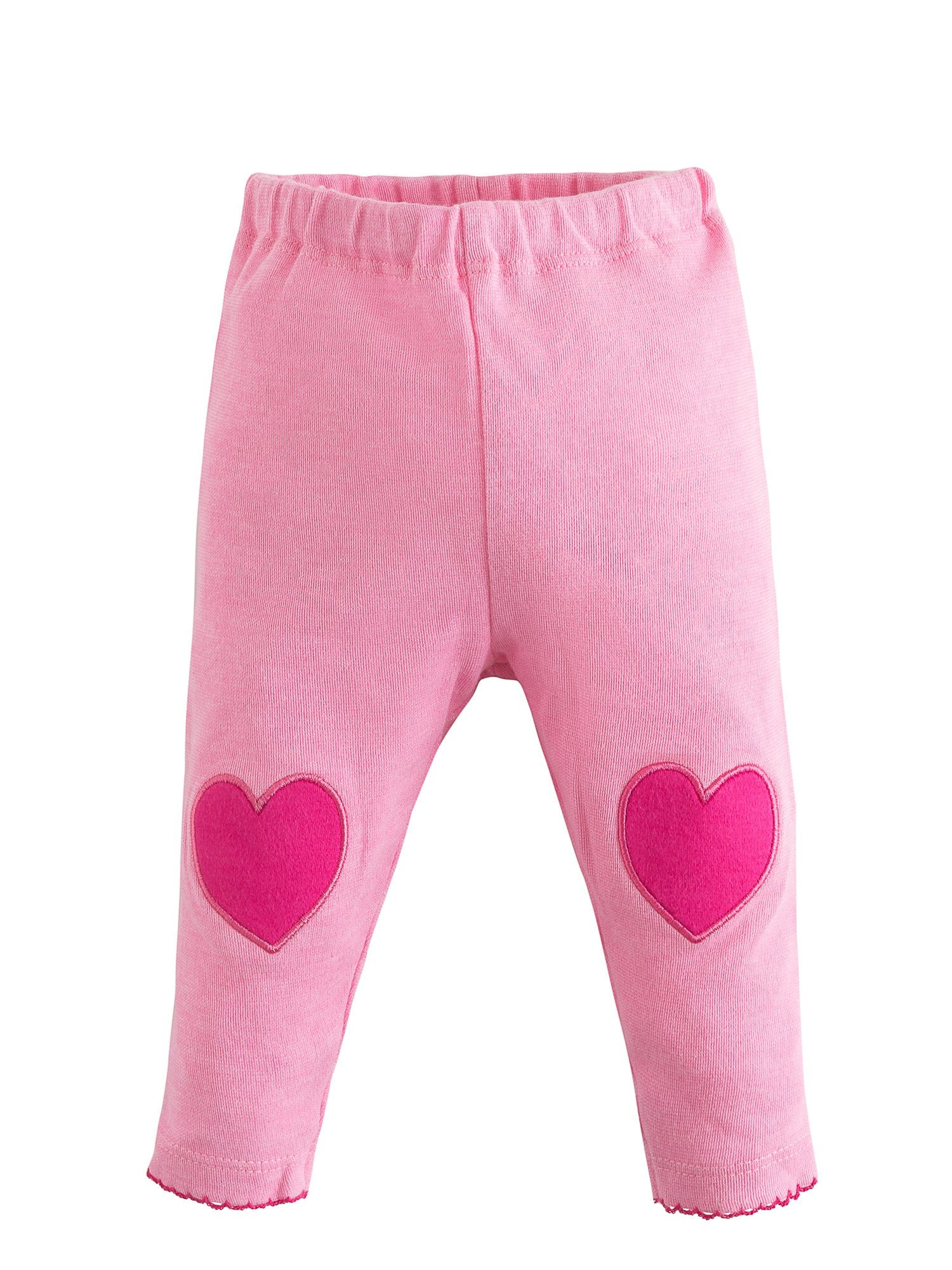 f0c32d995 Organic Cotton Baby Girl Pink Leggings with Heart Knee Patches ...