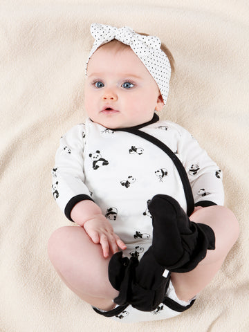 Side Snap Footie - Black Polka Dots