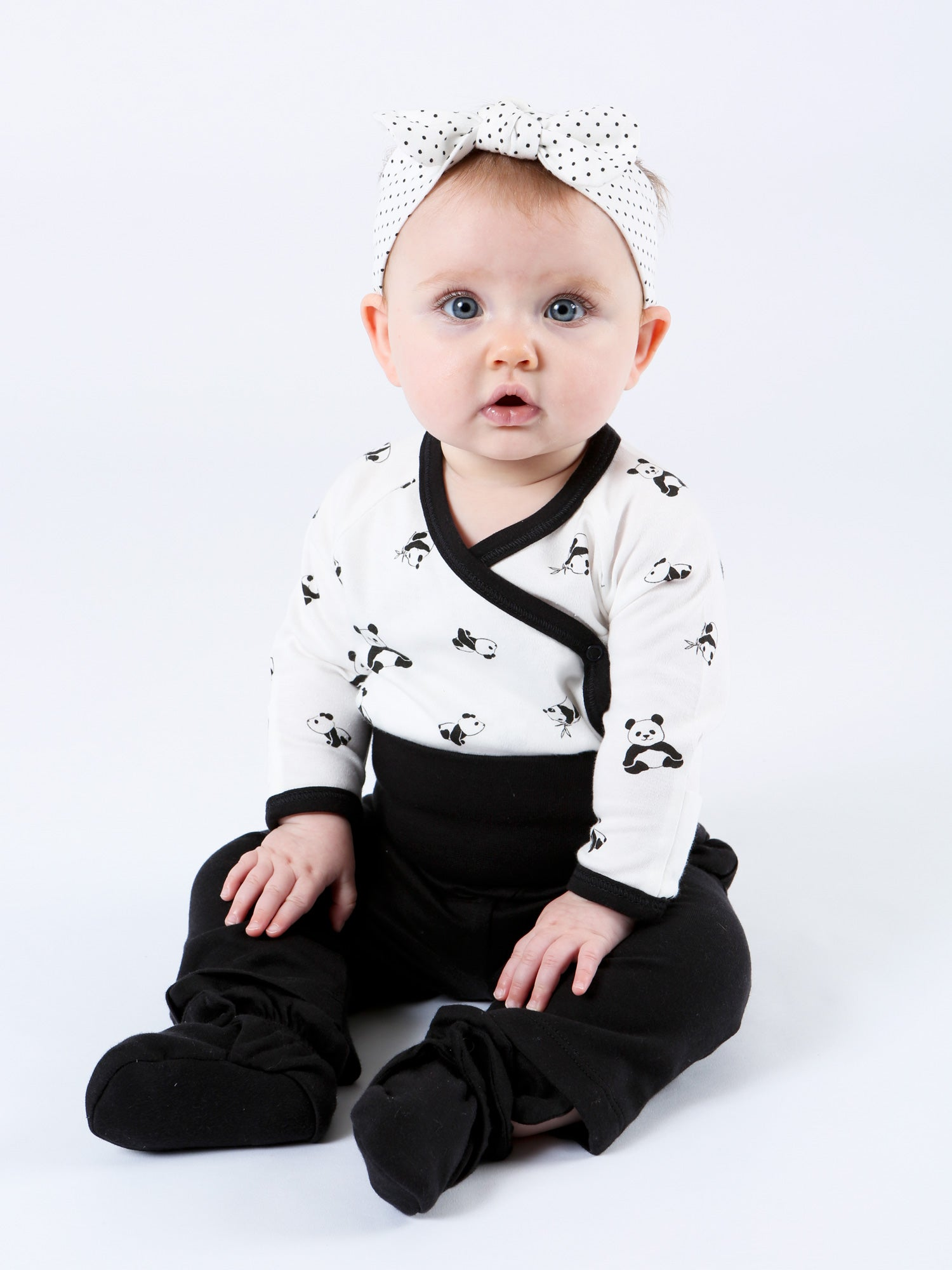 Long Sleeve Side Snap Bodysuit - Panda Print
