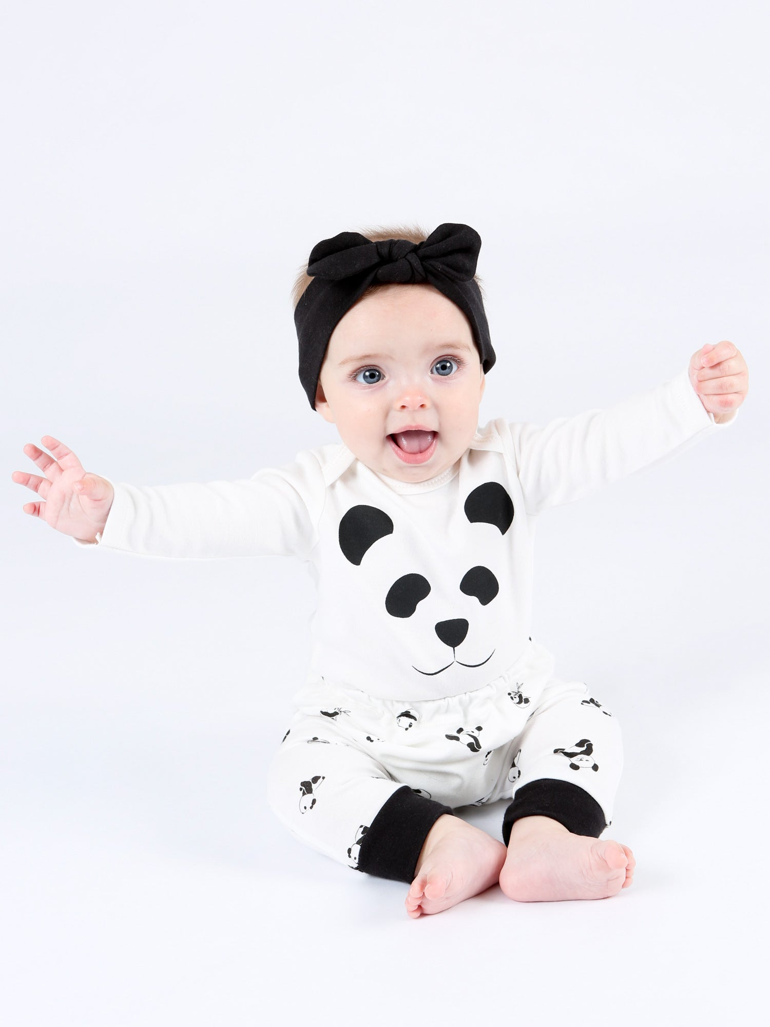 Long Sleeve Lap Shoulder Top -  Panda Print