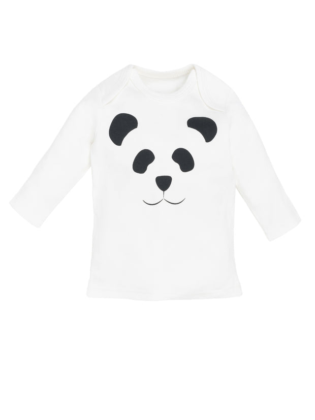Long Sleeve Lap Shoulder Top -  Panda Print 1
