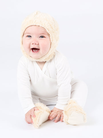 Faux Fur Sherpa Bear Ear Flap Hat, 0-6m