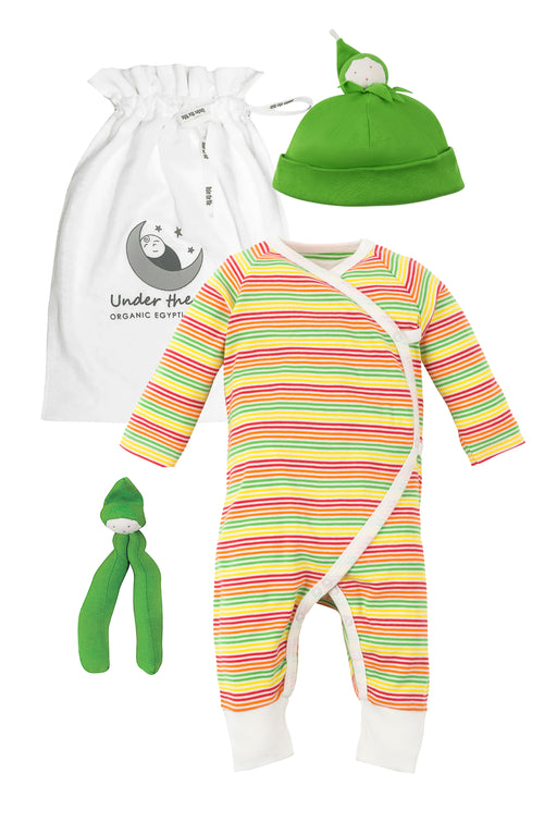 Veggie Stripes Kimono and Green Bean Gift Set