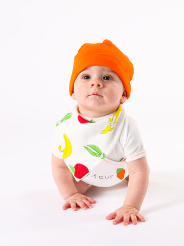 Baby Carrot Beanie - Orange w/ Light Green Tassels