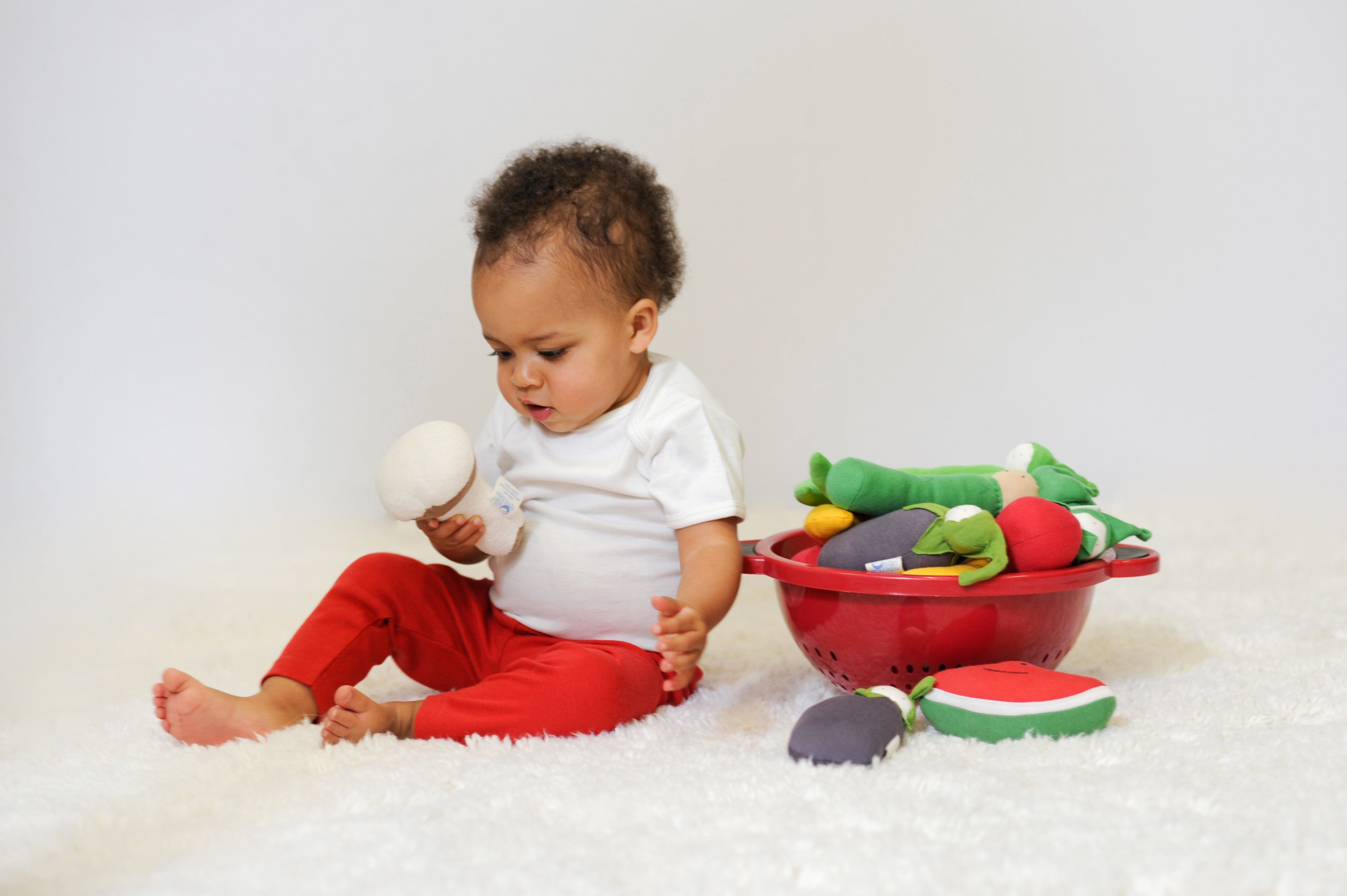 Baby playing with Fruit and Veggies Toys