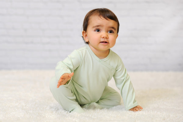 Organic Cotton Unisex Green Side Snap Footie Pajamas For