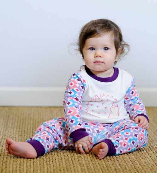 Baby Long Johns - Plum Prism Print