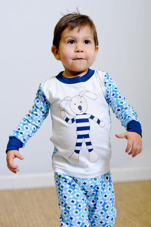 Cute child in Navy Prism Long Johns set