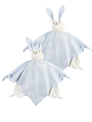 Swaddle Blanket - 2 Pack Pale Blue Stripe + Organic White