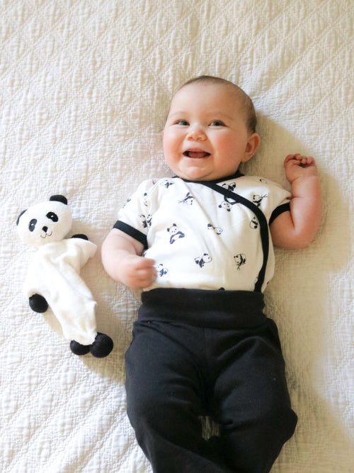 Short Sleeve Side Snap Bodysuit - Panda Print