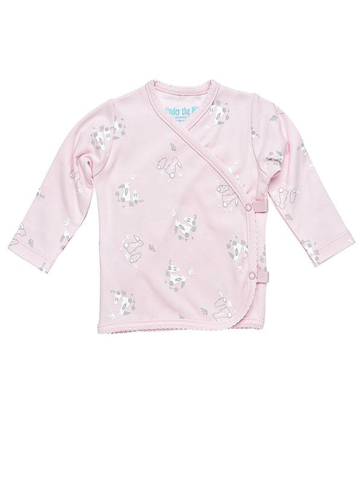 Long Sleeve Side Snap T-Shirt - Pink Bunny Print