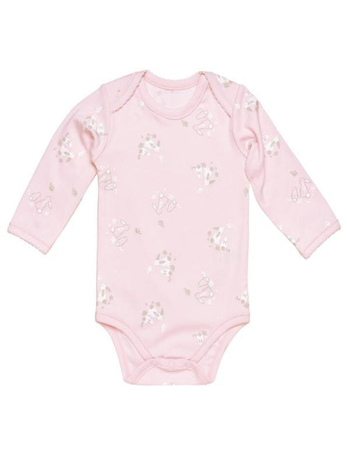 Cottontail Long Sleeve Lap Shoulder Bodysuit - Pink Bunny Print
