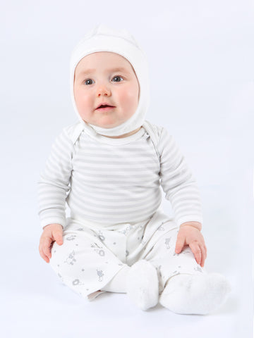 Cottontail Long Sleeve Lap Shoulder Bodysuit - Grey Stripe