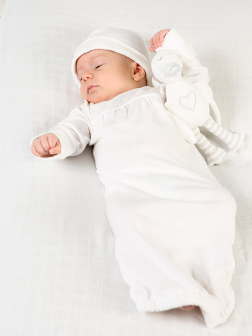Lap Shoulder Baby Gown - Gray Stork Embroidery