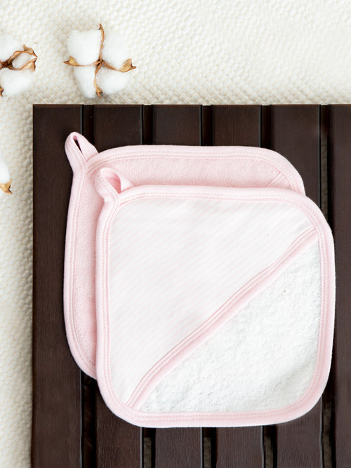 Wash Mitt Set - Pink Stripe