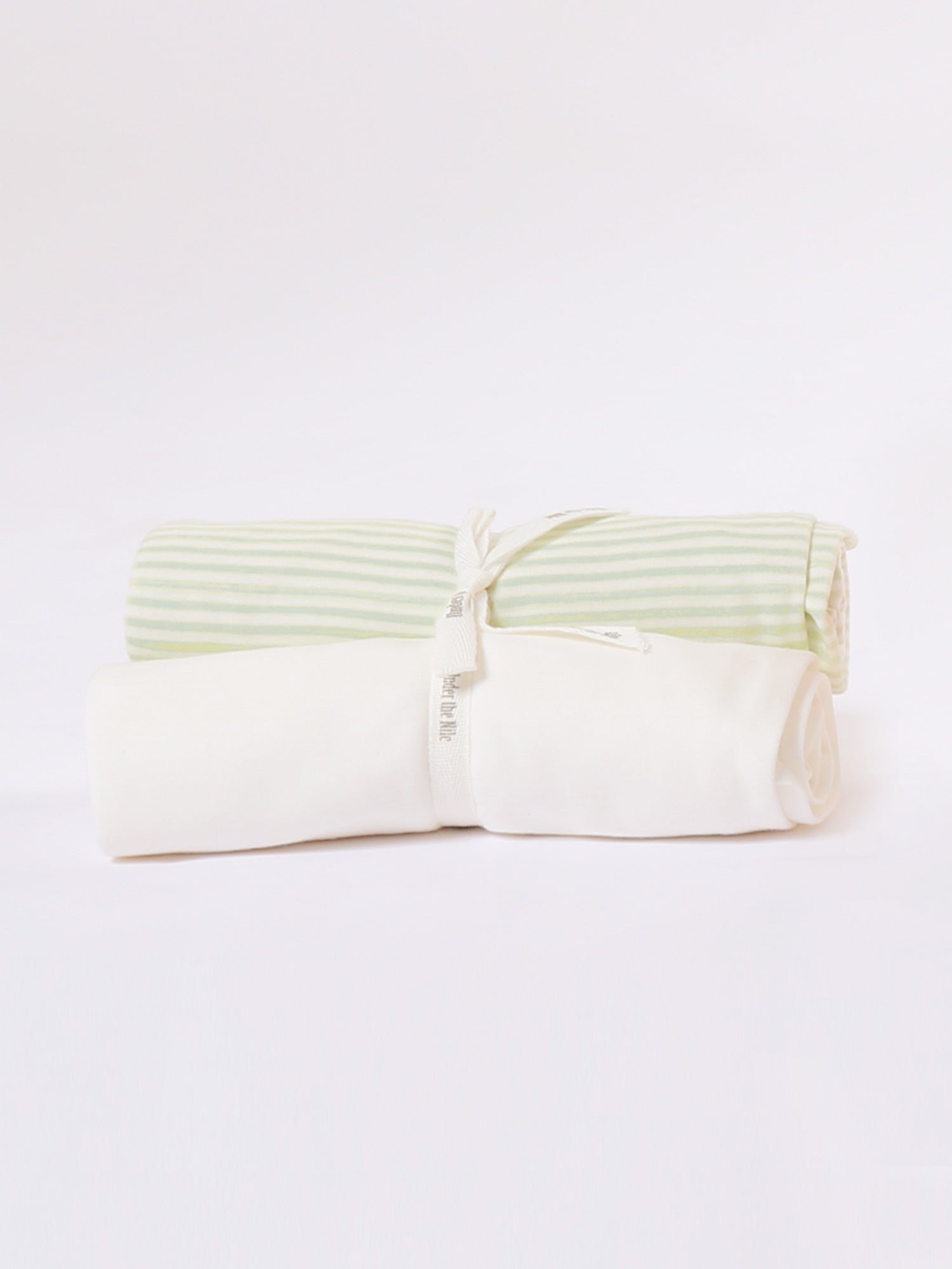 Swaddle Blanket - 2 Pack Sage Stripe + Organic White