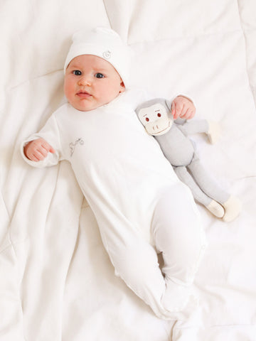 Long Sleeve Side Snap Bodysuit - Pale Blue Stripe